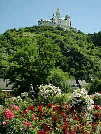 Pleasure grounds at the Rhine bank with Marksburg Castle